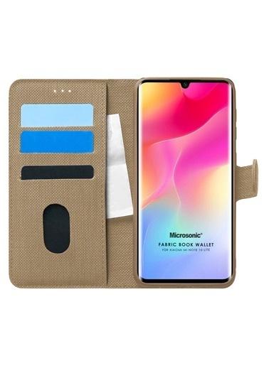 Microsonic Xiaomi Mi Note 10 Lite Kılıf Fabric Book Wallet Altın